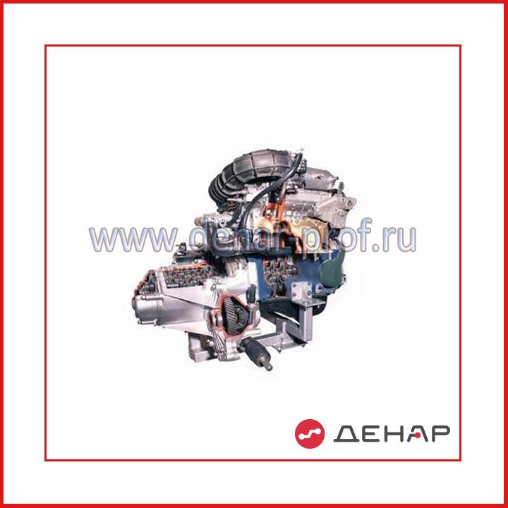 Двигатель переднеприводного автомобиля (DOHC, 16-кл.) в сборе со сцеплением и коробкой передач (агрегаты в разрезе)