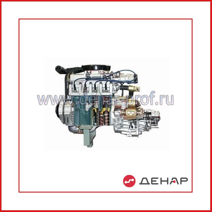 Двигатель переднеприводного автомобиля с навесным оборудованием в сборе со сцеплением и коробкой передач (агрегаты в разрезе)